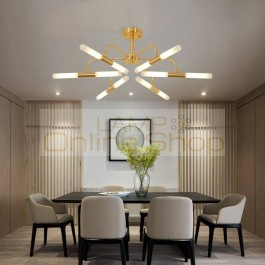Hot Sale Real 6 Head Gold Living Bed Room Led Ceiling Lamp Nordic Post Modernity Simple Restaurant Study Home Decor Lights