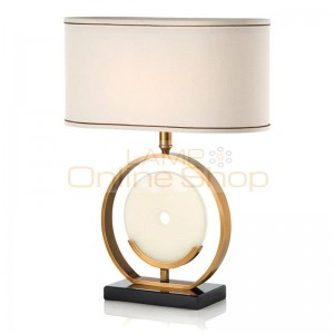 European style study LED table lamps American marble creative living room bedroom bedside cloth art E27 light reading lamp