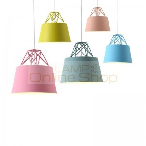 Modern simple Nordic macaron pendant lights cheap colorful dining room bar bedroom bedside coffee house creative LED droplight