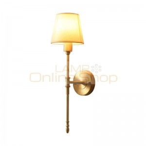 American Copper Wall Lamp for Bedside Restaurant Minimalism Simple Fabric Art Home Decorate Living Room Bedroom LED Wall Lights