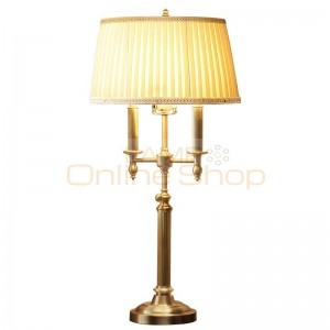 Nordic European Copper LED Table Lamp for Bedroom American Cloth Lampshade Study Bedside Golden Table Light Fixtures
