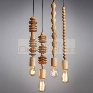 Modern Solid wood pendant lamp Japanese Nordic creative wood skewer hanging lamp living dining room wooden light fixture