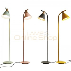 New classical floor lamps living room decoration metal and wood colorful lamp body lamp lampshade bedroom bedside LED lighting