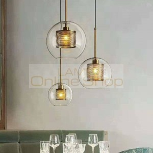 Nordic Modern New classical Living room Bedroom Pendant lights Creative Clear glass Droplight Gold silver lamp body E27 LED Bulb