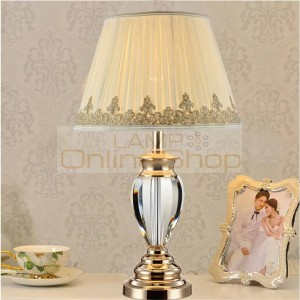 Study crystal desk lamp brief modern crystal table lamp Wedding chrome decoration switch led table light with large lampshade